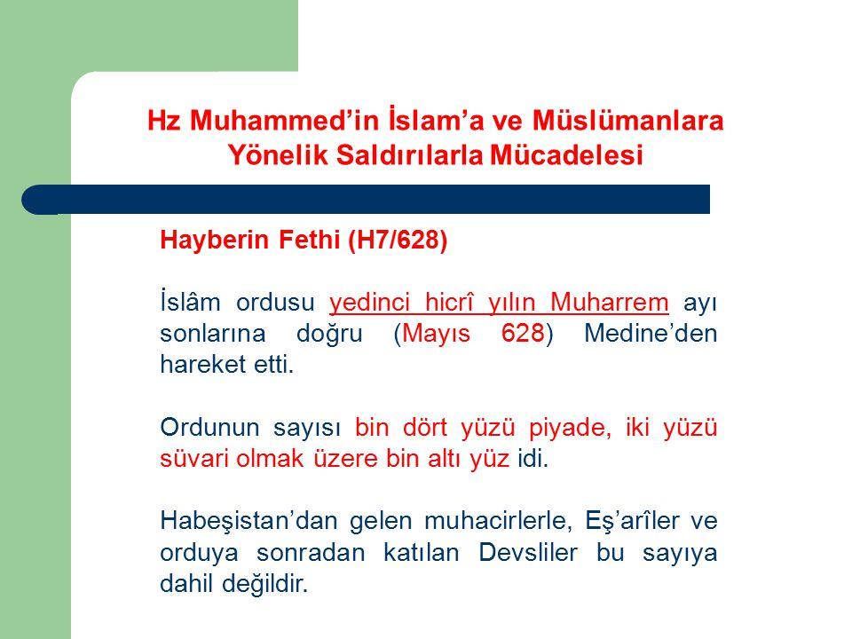 Hayberin Fethi (H7/628) İslâm ordusu yedinci hicrî yılın Muharrem ayı sonlarına doğru (Mayıs 628) Medine'den hareket etti. Ordunun sayısı bin dört yüz