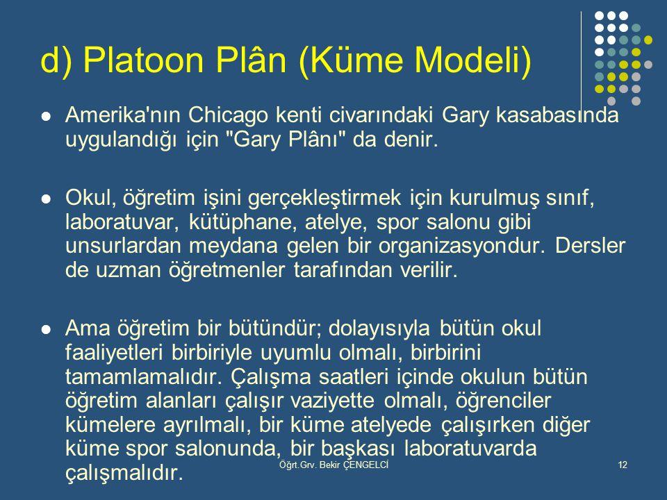 Öğrt.Grv. Bekir ÇENGELCİ12 d) Platoon Plân (Küme Modeli) Amerika'nın Chicago kenti civarındaki Gary kasabasında uygulandığı için