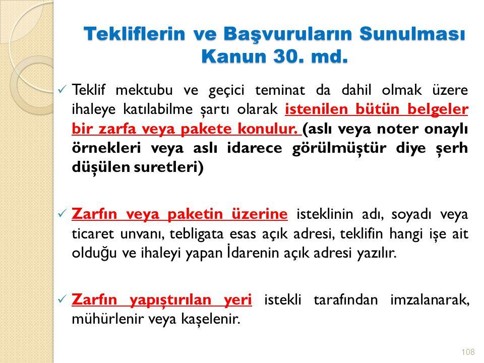 Tekliflerin ve Başvuruların Sunulması Kanun 30.md.