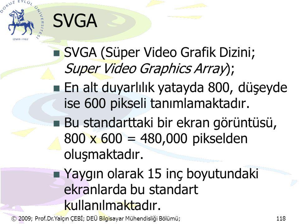 © 2009; Prof.Dr.Yalçın ÇEBİ; DEÜ Bilgisayar Mühendisliği Bölümü; 118 SVGA SVGA (Süper Video Grafik Dizini; Super Video Graphics Array); En alt duyarlı