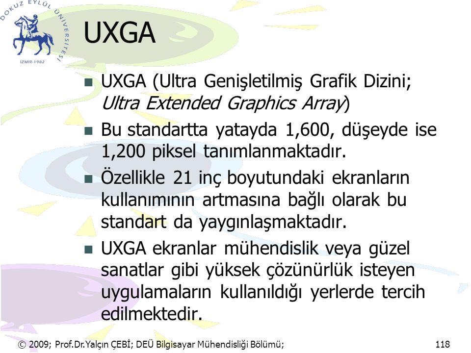 © 2009; Prof.Dr.Yalçın ÇEBİ; DEÜ Bilgisayar Mühendisliği Bölümü; 118 UXGA UXGA (Ultra Genişletilmiş Grafik Dizini; Ultra Extended Graphics Array) Bu s