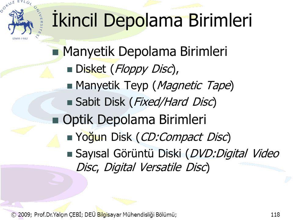 İkincil Depolama Birimleri Manyetik Depolama Birimleri Disket (Floppy Disc), Manyetik Teyp (Magnetic Tape) Sabit Disk (Fixed/Hard Disc) Optik Depolama