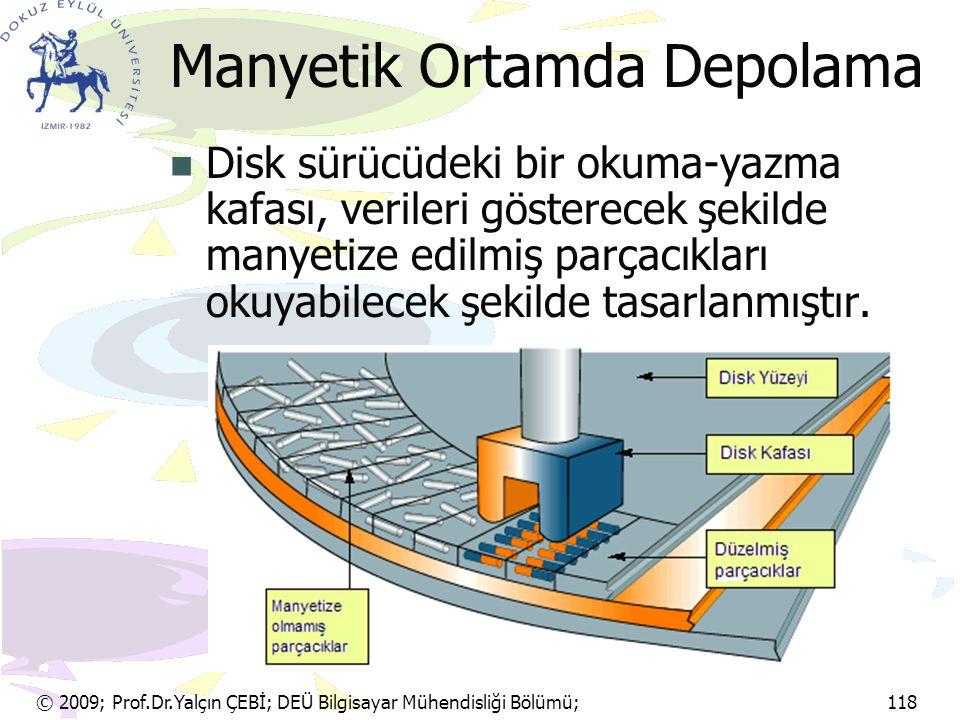 © 2009; Prof.Dr.Yalçın ÇEBİ; DEÜ Bilgisayar Mühendisliği Bölümü; 118 Manyetik Ortamda Depolama Disk sürücüdeki bir okuma-yazma kafası, verileri göster