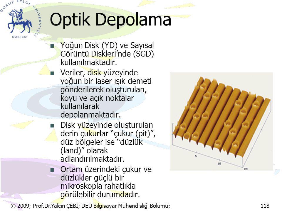 © 2009; Prof.Dr.Yalçın ÇEBİ; DEÜ Bilgisayar Mühendisliği Bölümü; 118 Optik Depolama Yoğun Disk (YD) ve Sayısal Görüntü Diskleri'nde (SGD) kullanılmakt