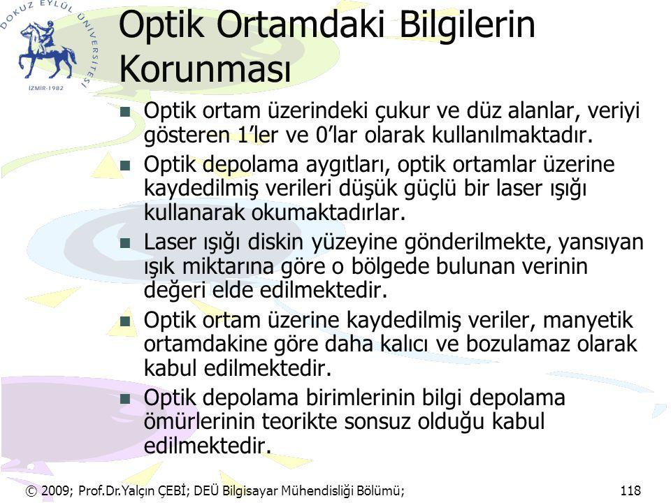 © 2009; Prof.Dr.Yalçın ÇEBİ; DEÜ Bilgisayar Mühendisliği Bölümü; 118 Optik Ortamdaki Bilgilerin Korunması Optik ortam üzerindeki çukur ve düz alanlar,