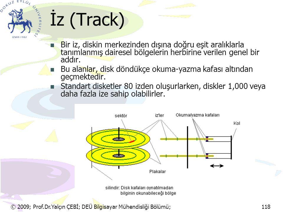© 2009; Prof.Dr.Yalçın ÇEBİ; DEÜ Bilgisayar Mühendisliği Bölümü; 118 İz (Track) Bir iz, diskin merkezinden dışına doğru eşit aralıklarla tanımlanmış d