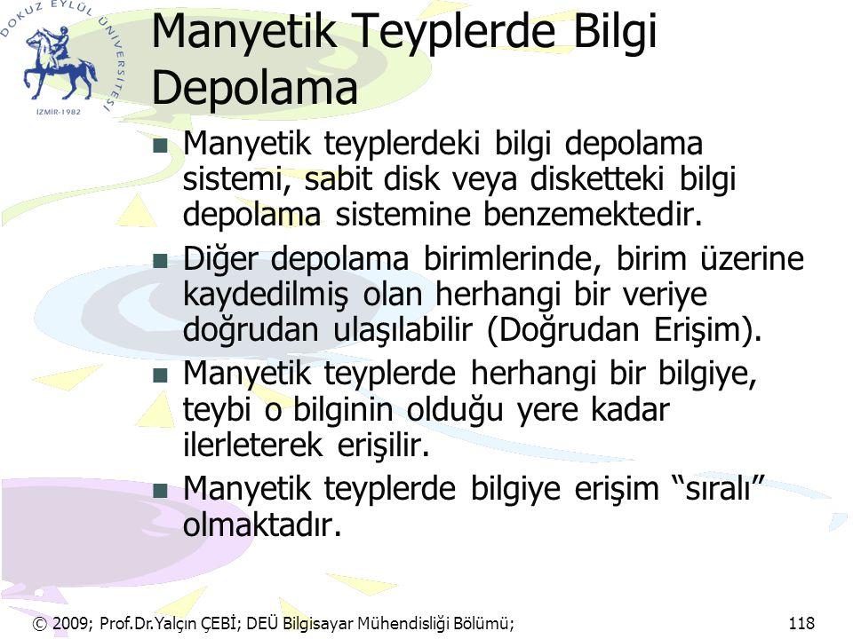 © 2009; Prof.Dr.Yalçın ÇEBİ; DEÜ Bilgisayar Mühendisliği Bölümü; 118 Manyetik Teyplerde Bilgi Depolama Manyetik teyplerdeki bilgi depolama sistemi, sa