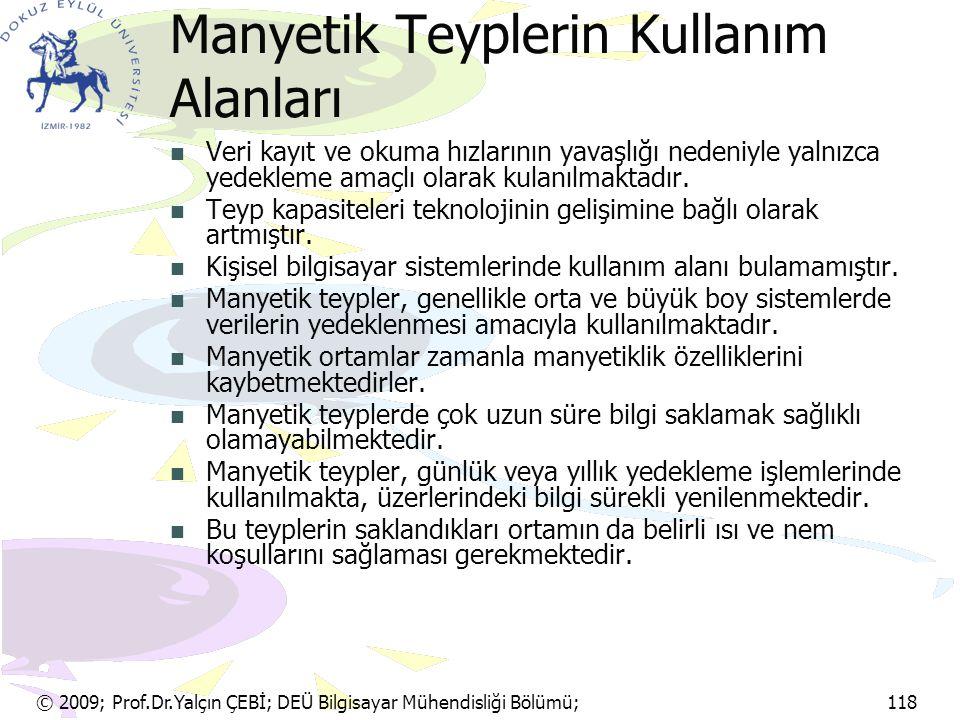 © 2009; Prof.Dr.Yalçın ÇEBİ; DEÜ Bilgisayar Mühendisliği Bölümü; 118 Manyetik Teyplerin Kullanım Alanları Veri kayıt ve okuma hızlarının yavaşlığı ned