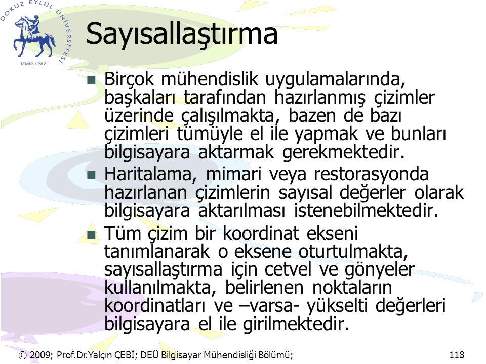 © 2009; Prof.Dr.Yalçın ÇEBİ; DEÜ Bilgisayar Mühendisliği Bölümü; 118 Sayısallaştırma Birçok mühendislik uygulamalarında, başkaları tarafından hazırlan