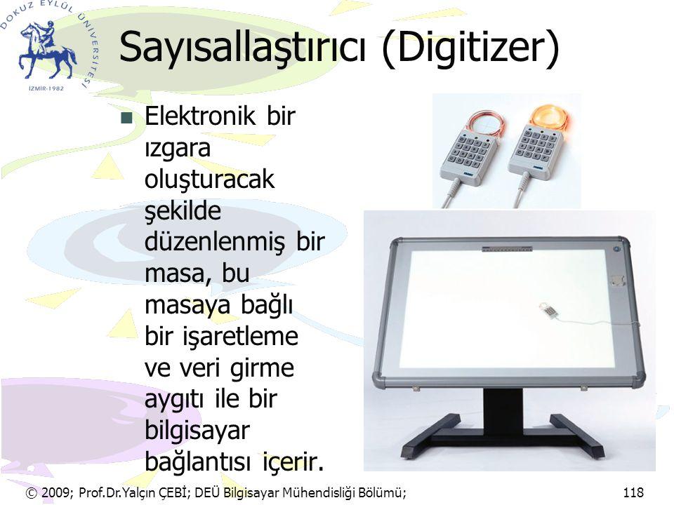 © 2009; Prof.Dr.Yalçın ÇEBİ; DEÜ Bilgisayar Mühendisliği Bölümü; 118 Sayısallaştırıcı (Digitizer) Elektronik bir ızgara oluşturacak şekilde düzenlenmi