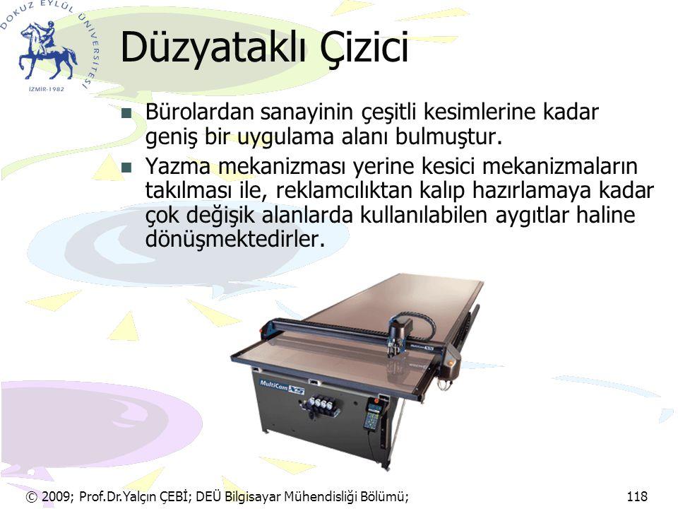 © 2009; Prof.Dr.Yalçın ÇEBİ; DEÜ Bilgisayar Mühendisliği Bölümü; 118 Düzyataklı Çizici Bürolardan sanayinin çeşitli kesimlerine kadar geniş bir uygula