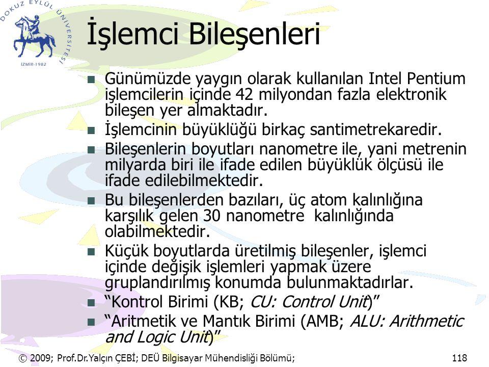 © 2009; Prof.Dr.Yalçın ÇEBİ; DEÜ Bilgisayar Mühendisliği Bölümü; 118 Baskı ve Renk Kalitesi Satır yazıcıların baskı kalitesi en düşüktür.