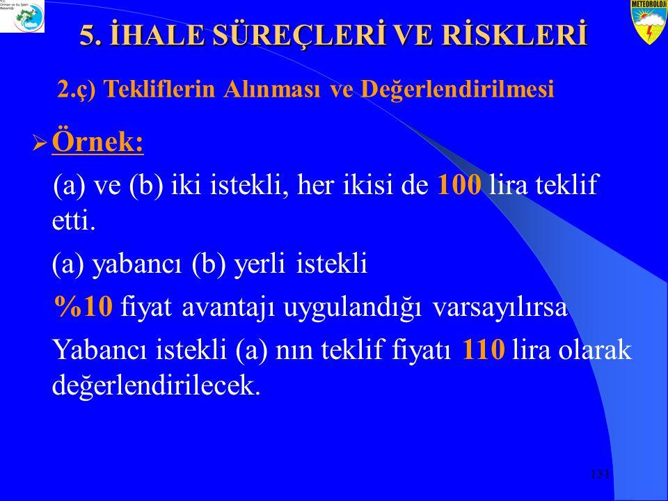 131  Örnek: (a) ve (b) iki istekli, her ikisi de 100 lira teklif etti.