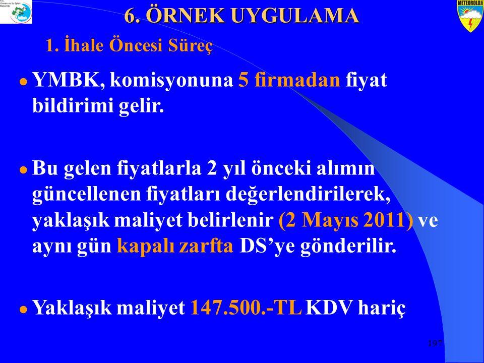 197 ● YMBK, komisyonuna 5 firmadan fiyat bildirimi gelir.