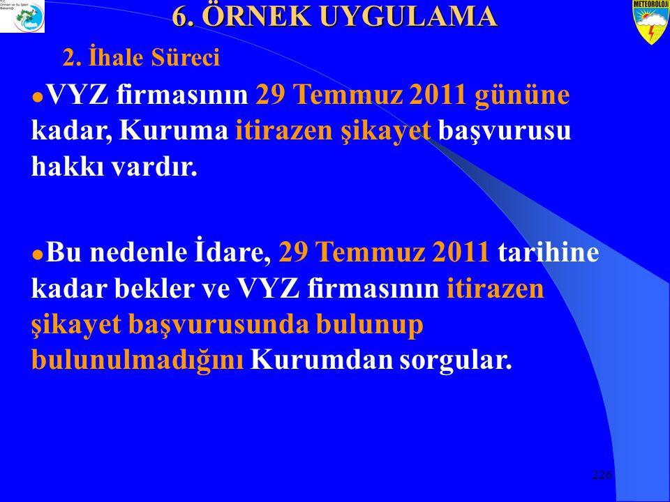 226 ● VYZ firmasının 29 Temmuz 2011 gününe kadar, Kuruma itirazen şikayet başvurusu hakkı vardır.