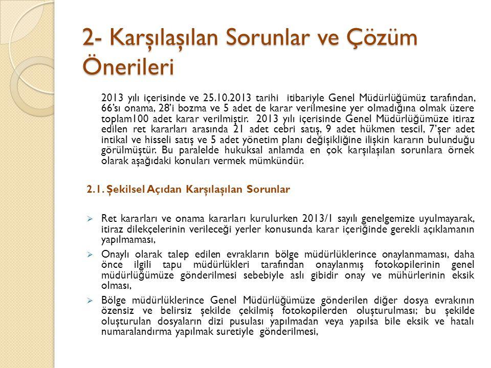 2- Karşılaşılan Sorunlar ve Çözüm Önerileri 2013 yılı içerisinde ve 25.10.2013 tarihi itibariyle Genel Müdürlü ğ ümüz tarafından, 66'sı onama, 28'i bozma ve 5 adet de karar verilmesine yer olmadı ğ ına olmak üzere toplam100 adet karar verilmiştir.