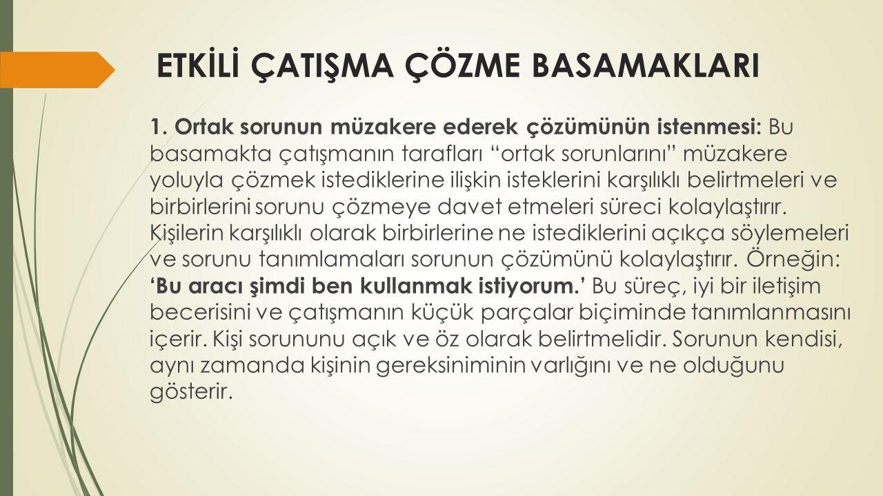 ETKİLİ ÇATIŞMA ÇÖZME BASAMAKLARI 1.