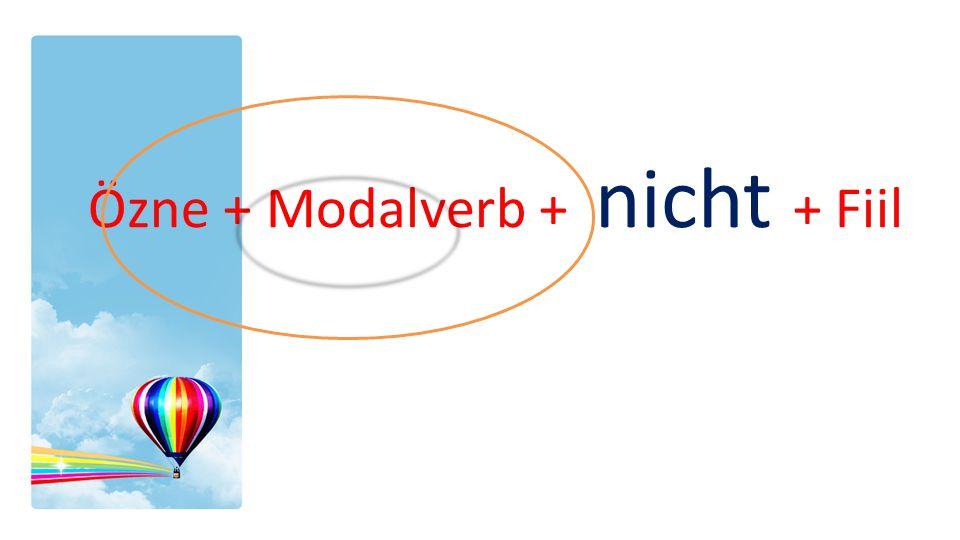 Özne + Modalverb + nicht + Fiil
