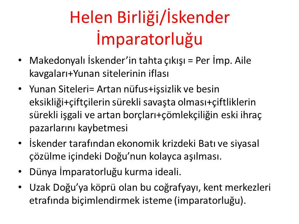 Helen Birliği/İskender İmparatorluğu Makedonyalı İskender'in tahta çıkışı = Per İmp. Aile kavgaları+Yunan sitelerinin iflası Yunan Siteleri= Artan nüf