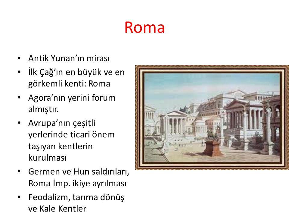 Roma Antik Yunan'ın mirası İlk Çağ'ın en büyük ve en görkemli kenti: Roma Agora'nın yerini forum almıştır. Avrupa'nın çeşitli yerlerinde ticari önem t
