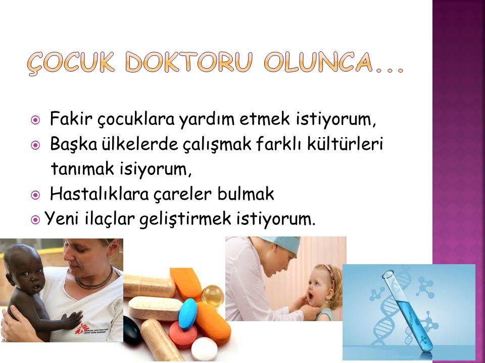  Fakir çocuklara yardım etmek istiyorum,  Başka ülkelerde çalışmak farklı kültürleri tanımak isiyorum,  Hastalıklara çareler bulmak  Yeni ilaçlar geliştirmek istiyorum.
