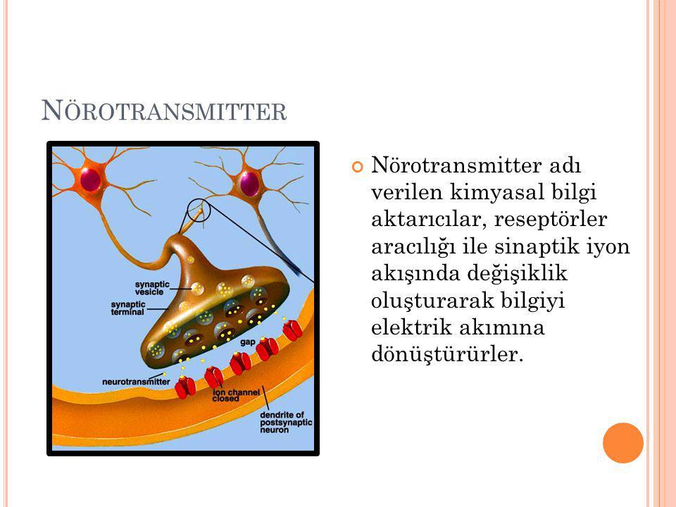N ÖROTRANSMITTER Nörotransmitter adı verilen kimyasal bilgi aktarıcılar, reseptörler aracılığı ile sinaptik iyon akışında değişiklik oluşturarak bilgiyi elektrik akımına dönüştürürler.