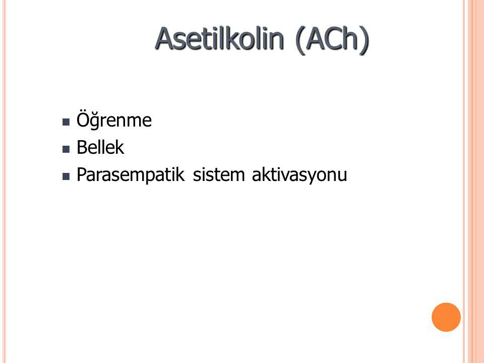 Asetilkolin (ACh) Öğrenme Öğrenme Bellek Bellek Parasempatik sistem aktivasyonu Parasempatik sistem aktivasyonu