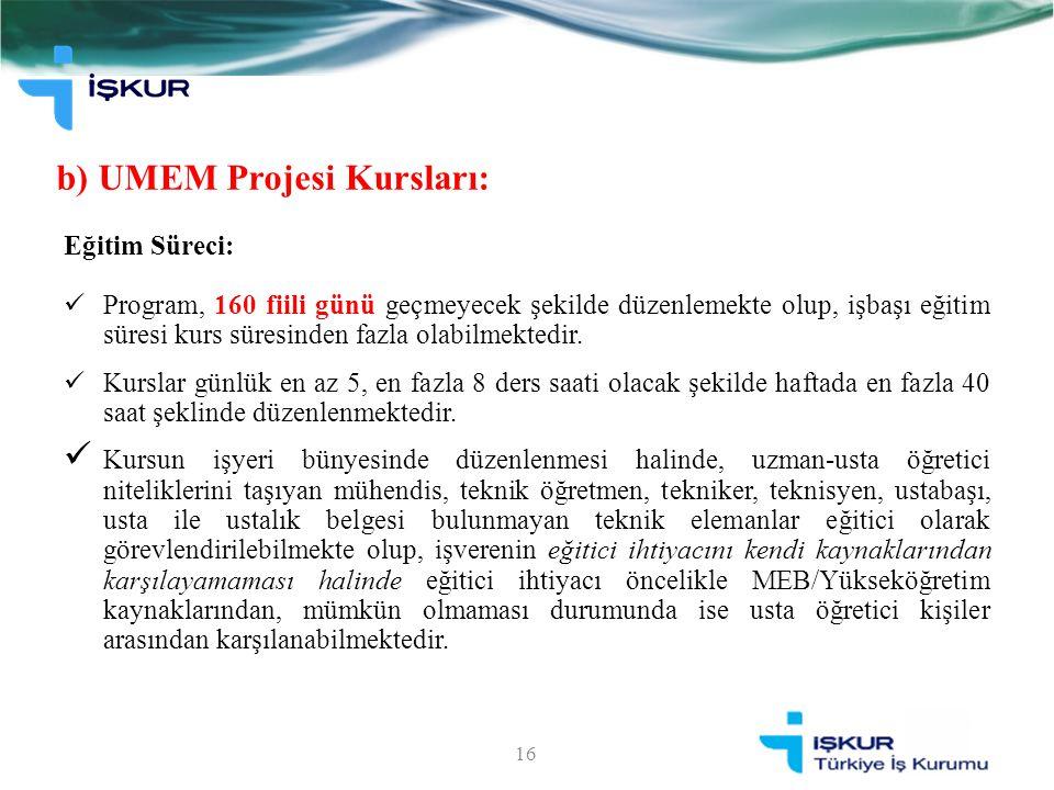 b) UMEM Projesi Kursları: 16 Eğitim Süreci: Program, 160 fiili günü geçmeyecek şekilde düzenlemekte olup, işbaşı eğitim süresi kurs süresinden fazla o