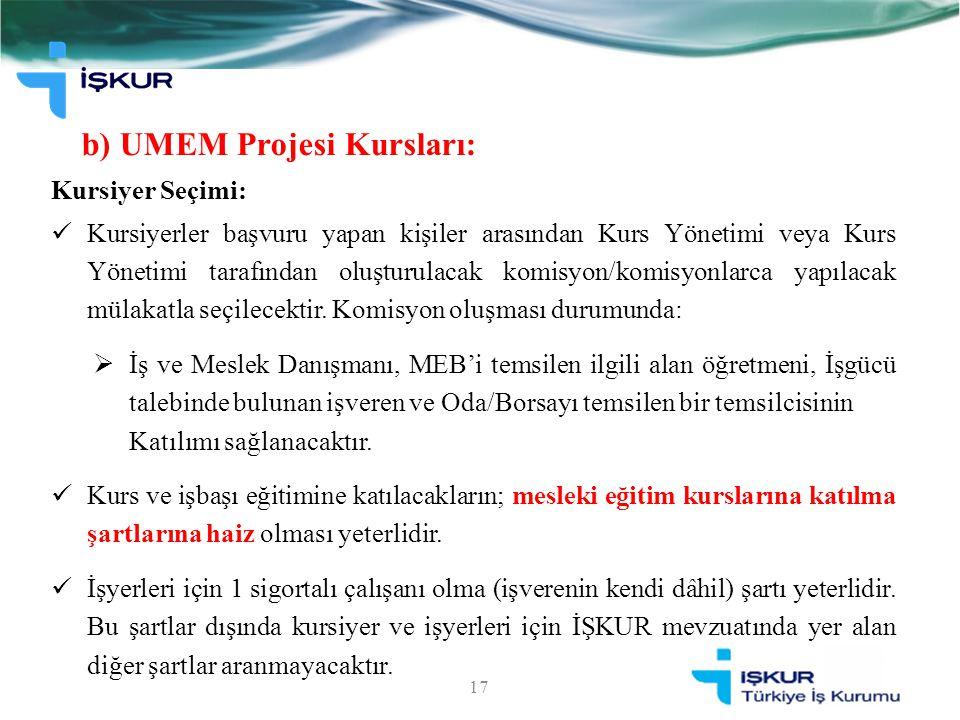 b) UMEM Projesi Kursları: 17 Kursiyer Seçimi: Kursiyerler başvuru yapan kişiler arasından Kurs Yönetimi veya Kurs Yönetimi tarafından oluşturulacak ko