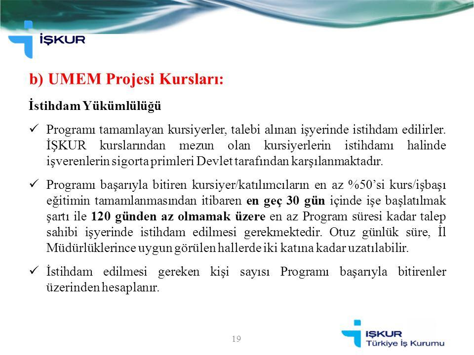 b) UMEM Projesi Kursları: 19 İstihdam Yükümlülüğü Programı tamamlayan kursiyerler, talebi alınan işyerinde istihdam edilirler. İŞKUR kurslarından mezu
