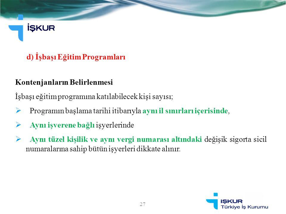 d) İşbaşı Eğitim Programları Kontenjanların Belirlenmesi İşbaşı eğitim programına katılabilecek kişi sayısı;  Programın başlama tarihi itibarıyla ayn