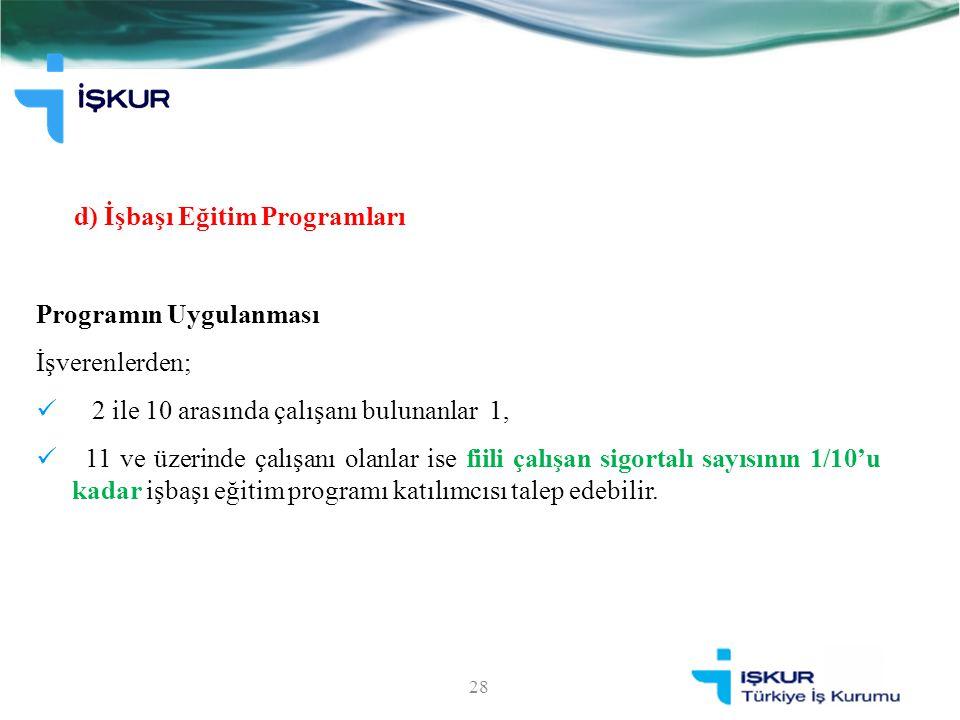 d) İşbaşı Eğitim Programları Programın Uygulanması İşverenlerden; 2 ile 10 arasında çalışanı bulunanlar 1, 11 ve üzerinde çalışanı olanlar ise fiili ç