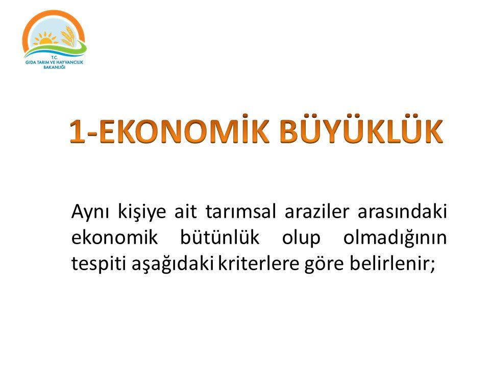 Aynı kişiye ait tarımsal araziler arasındaki ekonomik bütünlük olup olmadığının tespiti aşağıdaki kriterlere göre belirlenir;