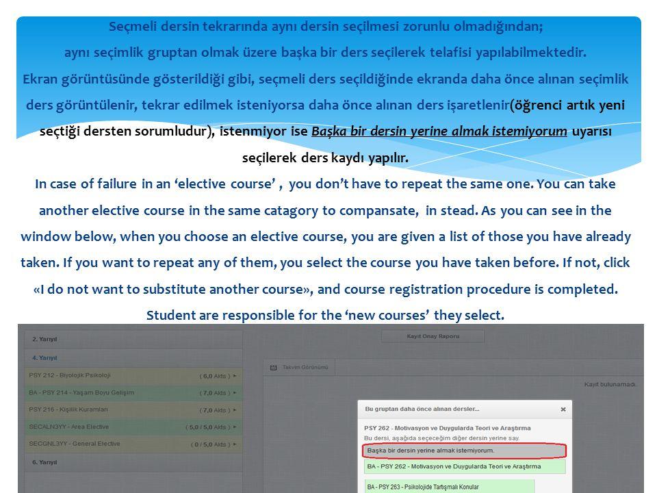 Seçmeli dersin tekrarında aynı dersin seçilmesi zorunlu olmadığından; aynı seçimlik gruptan olmak üzere başka bir ders seçilerek telafisi yapılabilmektedir.