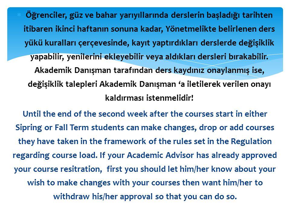Ders seçme, ders ekleme-bırakma, dersten çekilme işlemlerinin geçerli sayılması için Akademik Danışman onayı ile sonlandırılmalıdır.