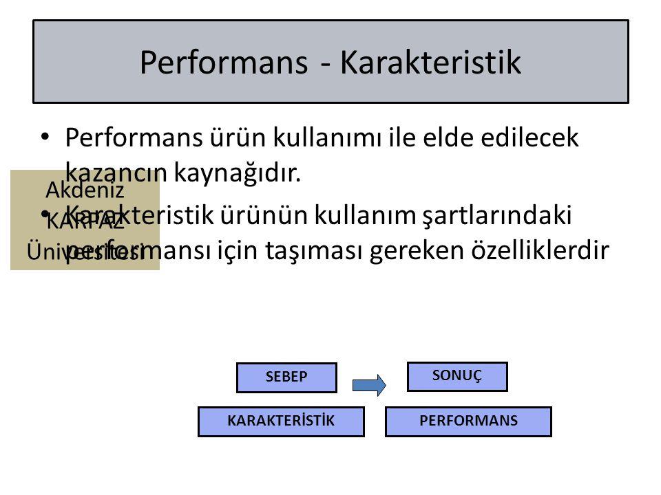 Akdeniz KARPAZ Üniversitesi Performans - Karakteristik Performans ürün kullanımı ile elde edilecek kazancın kaynağıdır. Karakteristik ürünün kullanım