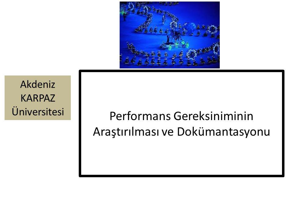 Akdeniz KARPAZ Üniversitesi Performans Gereksiniminin Araştırılması ve Dokümantasyonu
