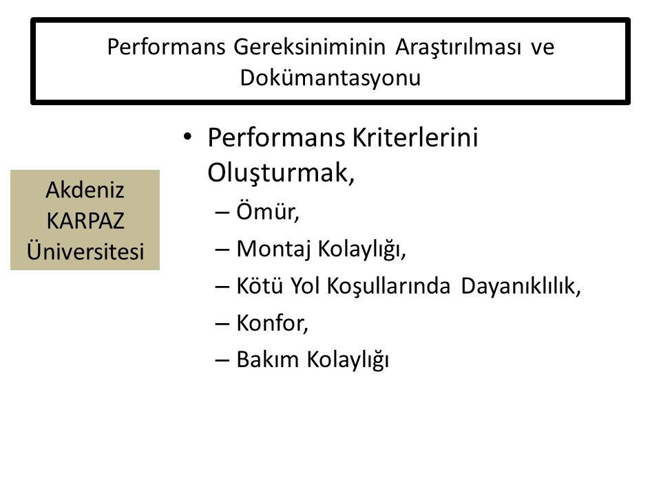 Akdeniz KARPAZ Üniversitesi Performans Gereksiniminin Araştırılması ve Dokümantasyonu Performans Kriterlerini Oluşturmak, – Ömür, – Montaj Kolaylığı, – Kötü Yol Koşullarında Dayanıklılık, – Konfor, – Bakım Kolaylığı