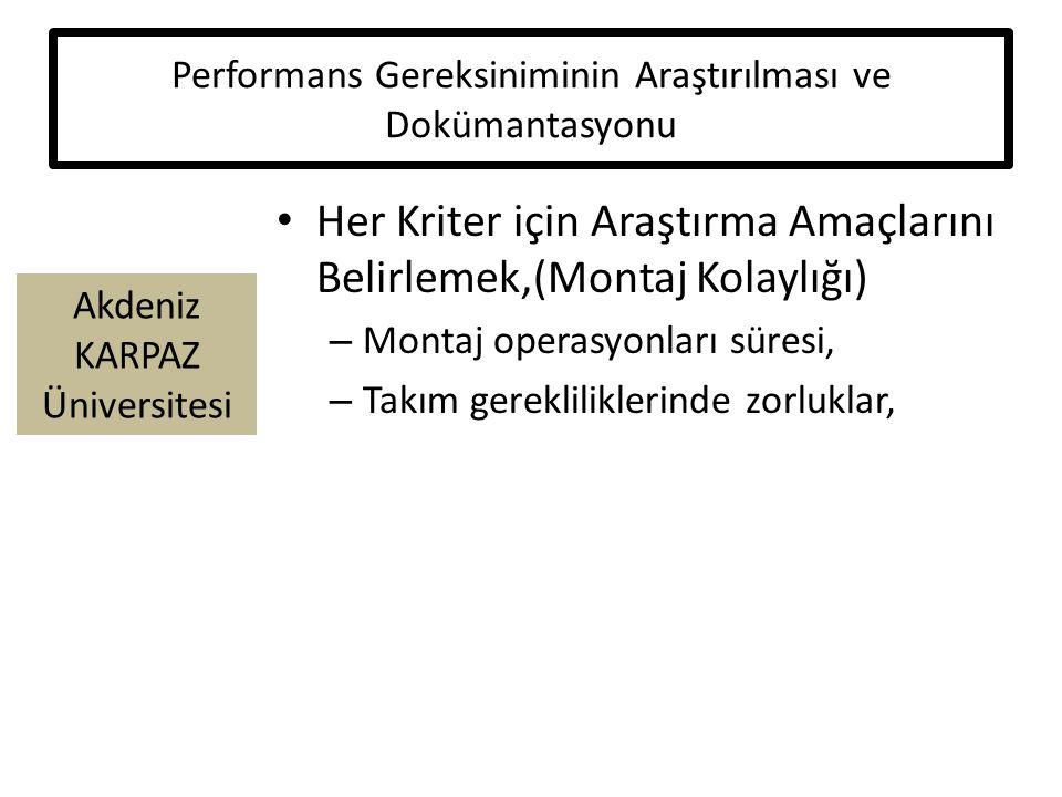Akdeniz KARPAZ Üniversitesi Performans Gereksiniminin Araştırılması ve Dokümantasyonu Her Kriter için Araştırma Amaçlarını Belirlemek,(Montaj Kolaylığı) – Montaj operasyonları süresi, – Takım gerekliliklerinde zorluklar,