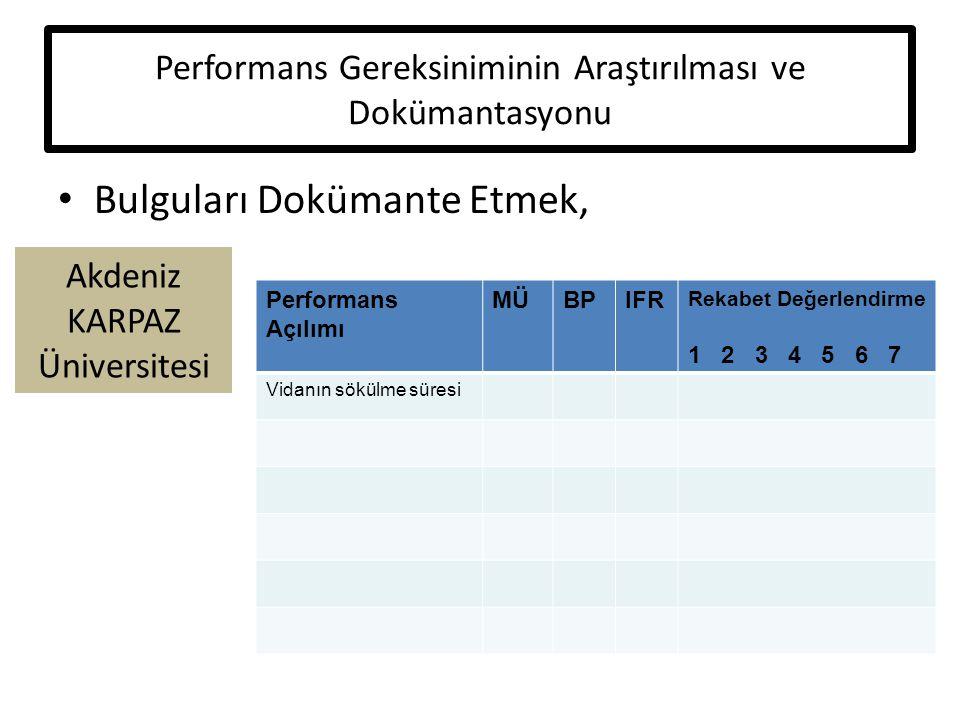 Akdeniz KARPAZ Üniversitesi Performans Gereksiniminin Araştırılması ve Dokümantasyonu Bulguları Dokümante Etmek, Performans Açılımı MÜBPIFR Rekabet Değerlendirme 1 2 3 4 5 6 7 Vidanın sökülme süresi