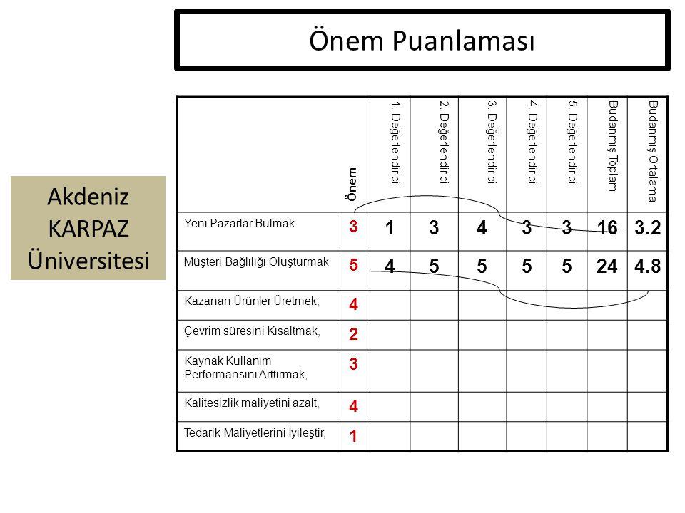 Akdeniz KARPAZ Üniversitesi Önem Puanlaması 1. Değerlendirici2. Değerlendirici3. Değerlendirici4. Değerlendirici5. DeğerlendiriciBudanmış ToplamBudanm