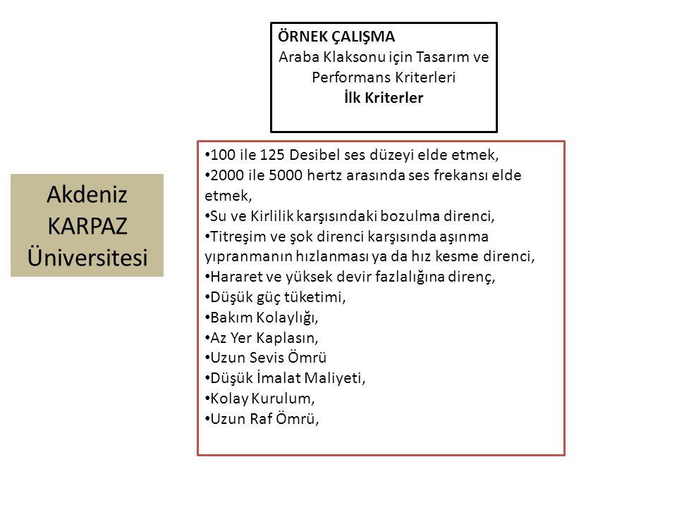 Akdeniz KARPAZ Üniversitesi ÖRNEK ÇALIŞMA Araba Klaksonu için Tasarım ve Performans Kriterleri İlk Kriterler 100 ile 125 Desibel ses düzeyi elde etmek