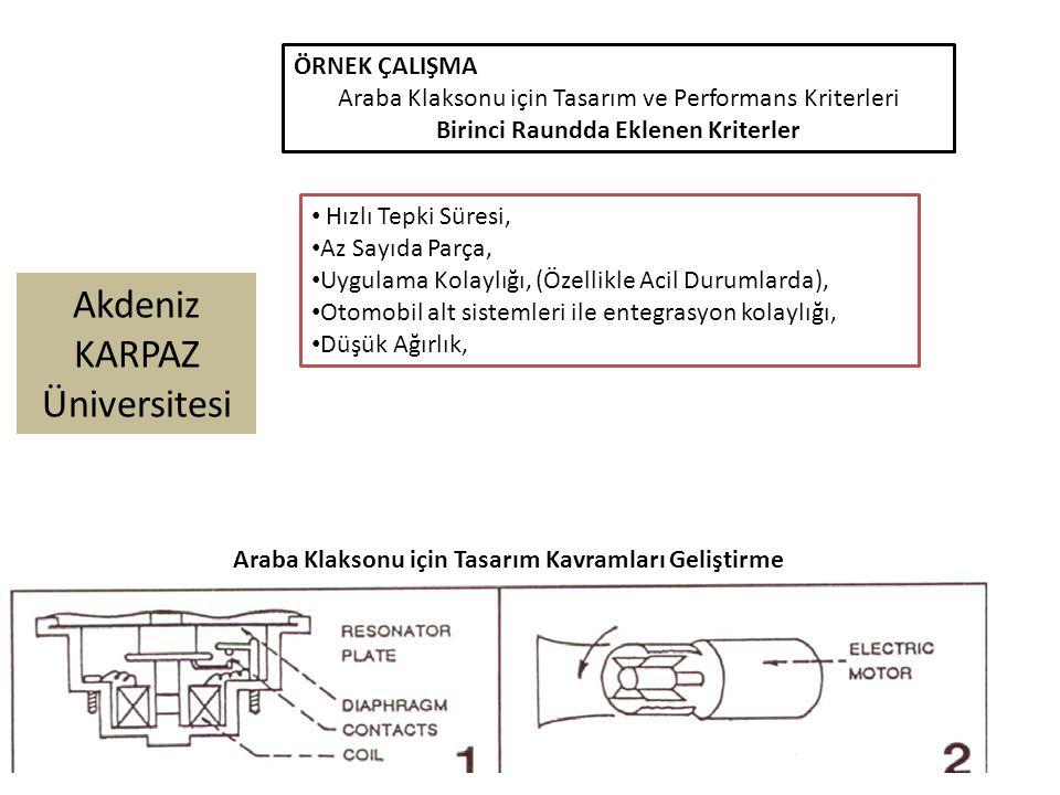 Akdeniz KARPAZ Üniversitesi ÖRNEK ÇALIŞMA Araba Klaksonu için Tasarım ve Performans Kriterleri Birinci Raundda Eklenen Kriterler Hızlı Tepki Süresi, Az Sayıda Parça, Uygulama Kolaylığı, (Özellikle Acil Durumlarda), Otomobil alt sistemleri ile entegrasyon kolaylığı, Düşük Ağırlık, Araba Klaksonu için Tasarım Kavramları Geliştirme