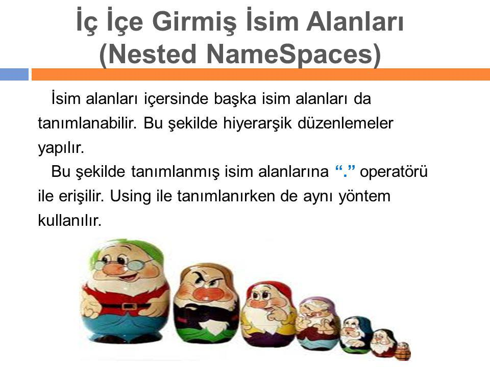 İç İçe Girmiş İsim Alanları (Nested NameSpaces) İsim alanları içersinde başka isim alanları da tanımlanabilir. Bu şekilde hiyerarşik düzenlemeler yapı