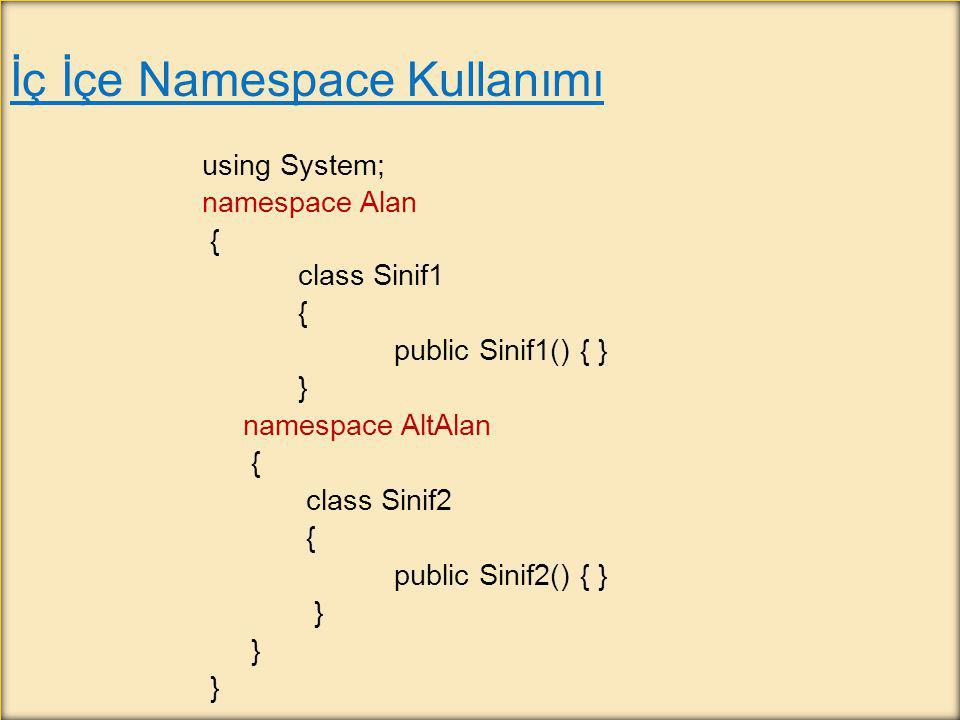 İç İçe Namespace Kullanımı using System; namespace Alan { class Sinif1 { public Sinif1() { } } namespace AltAlan { class Sinif2 { public Sinif2() { }