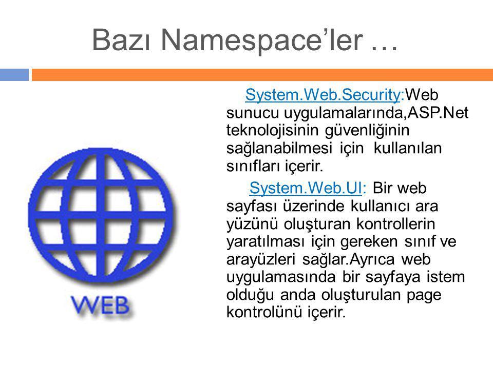 System.Web.Security:Web sunucu uygulamalarında,ASP.Net teknolojisinin güvenliğinin sağlanabilmesi için kullanılan sınıfları içerir. System.Web.UI: Bir