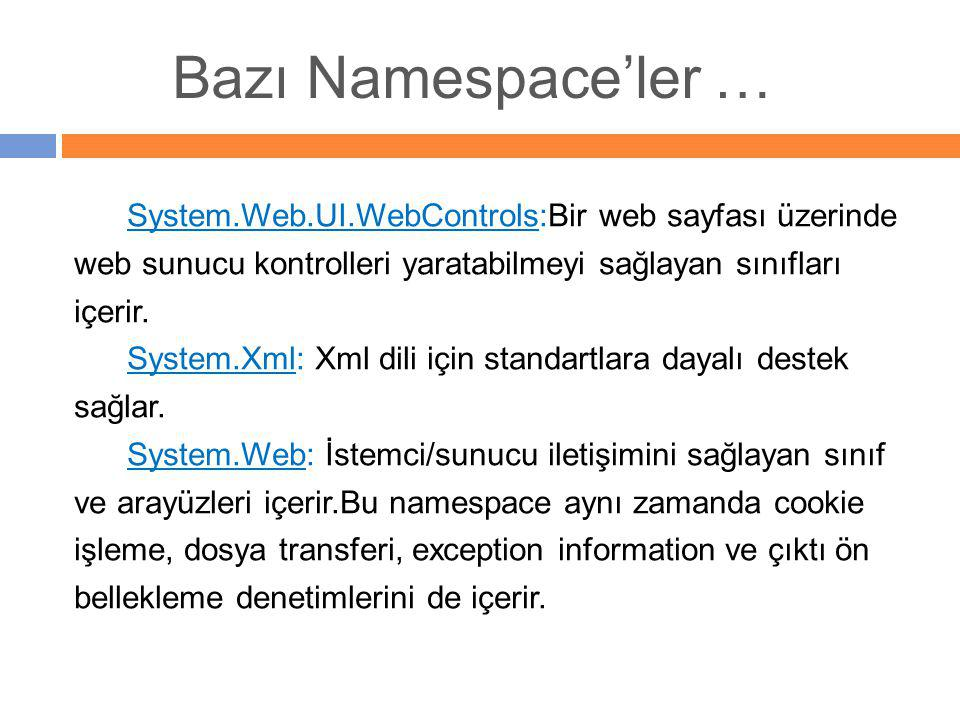 System.Web.UI.WebControls:Bir web sayfası üzerinde web sunucu kontrolleri yaratabilmeyi sağlayan sınıfları içerir. System.Xml: Xml dili için standartl