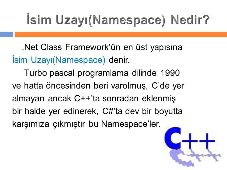 .Net Class Framework'ün en üst yapısına İsim Uzayı(Namespace) denir. Turbo pascal programlama dilinde 1990 ve hatta öncesinden beri varolmuş, C'de yer