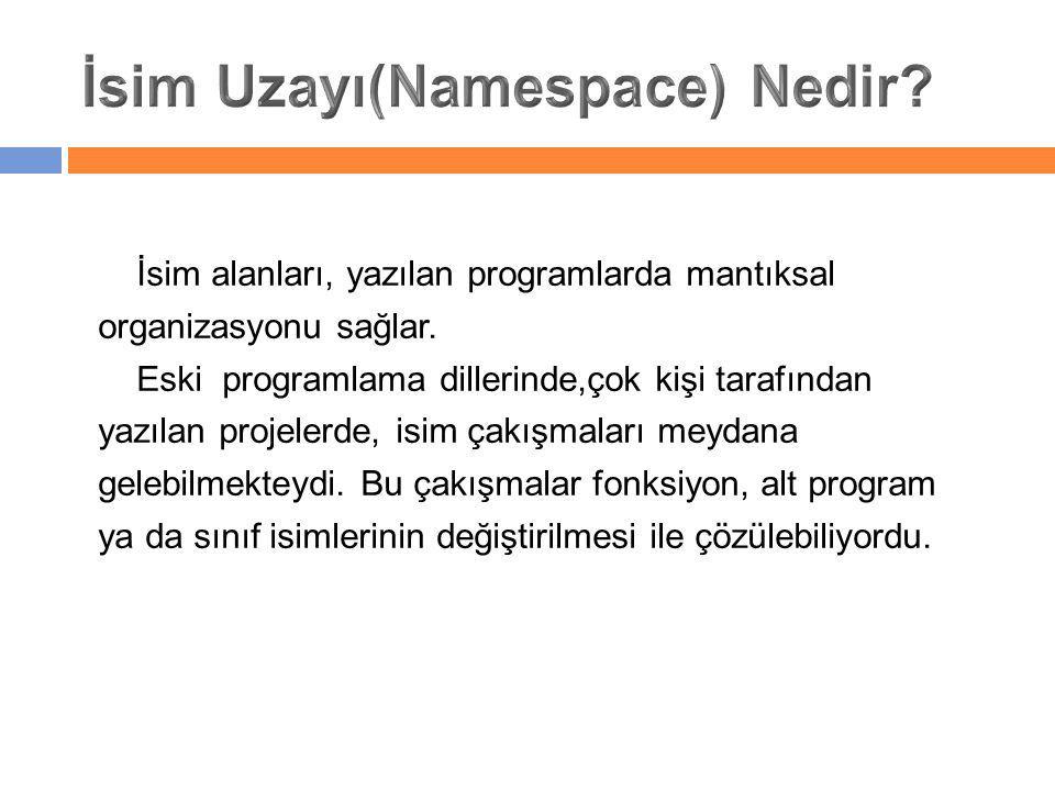 İsim alanları, yazılan programlarda mantıksal organizasyonu sağlar. Eski programlama dillerinde,çok kişi tarafından yazılan projelerde, isim çakışmala