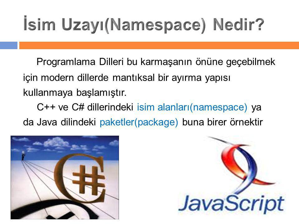 Programlama Dilleri bu karmaşanın önüne geçebilmek için modern dillerde mantıksal bir ayırma yapısı kullanmaya başlamıştır. C++ ve C# dillerindeki isi